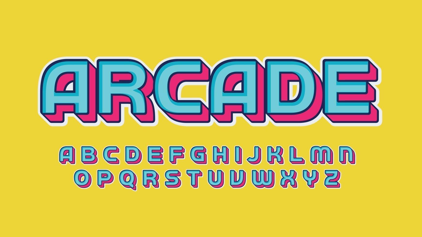 tipografia di gioco del fumetto 3d blu e rosa vettore