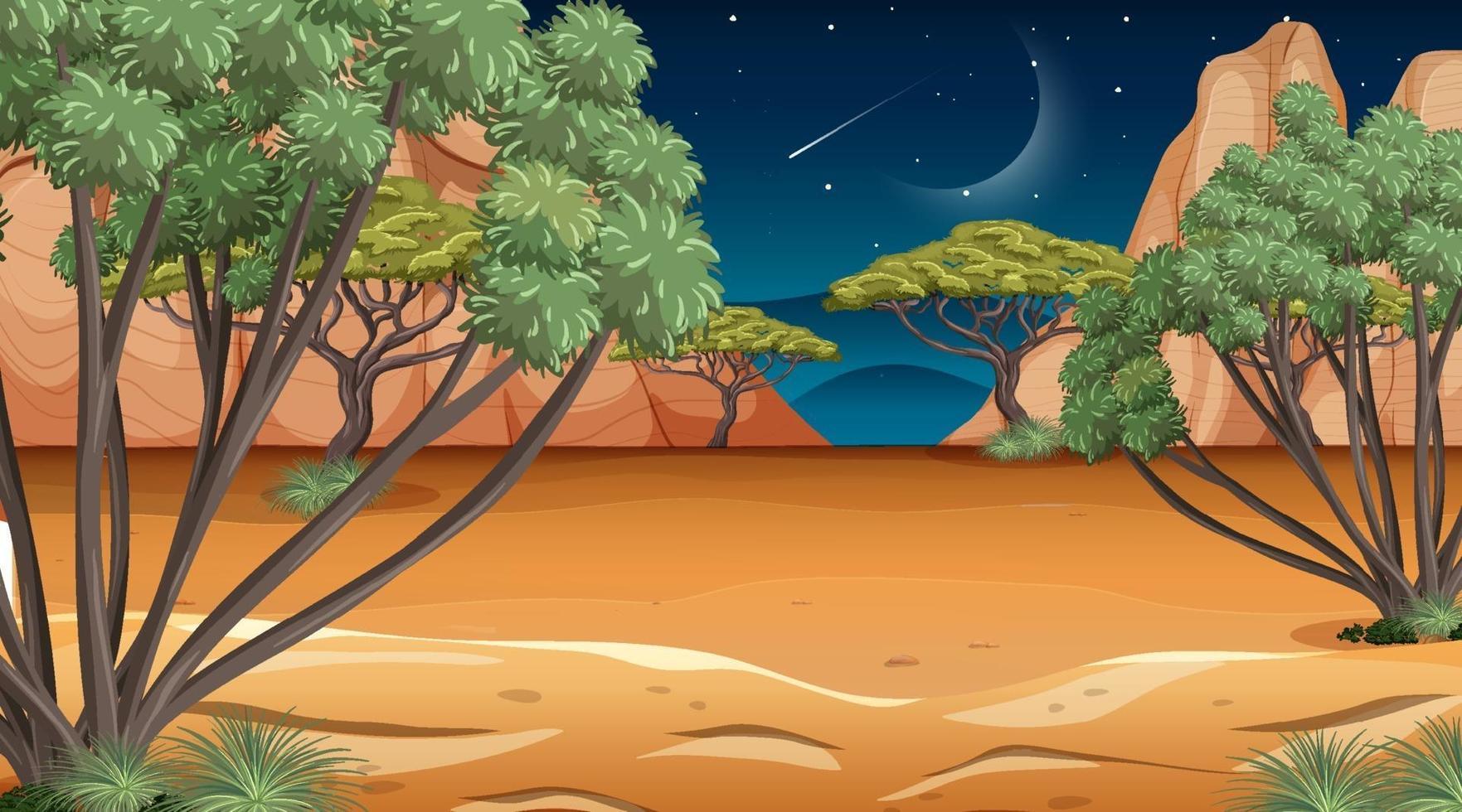 scena del paesaggio della foresta della savana africana di notte vettore
