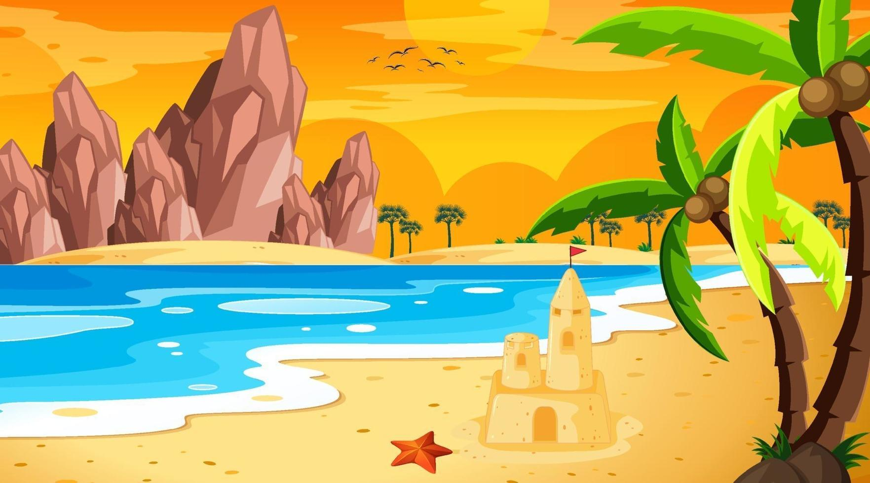 paesaggio spiaggia tropicale alla scena del tramonto vettore