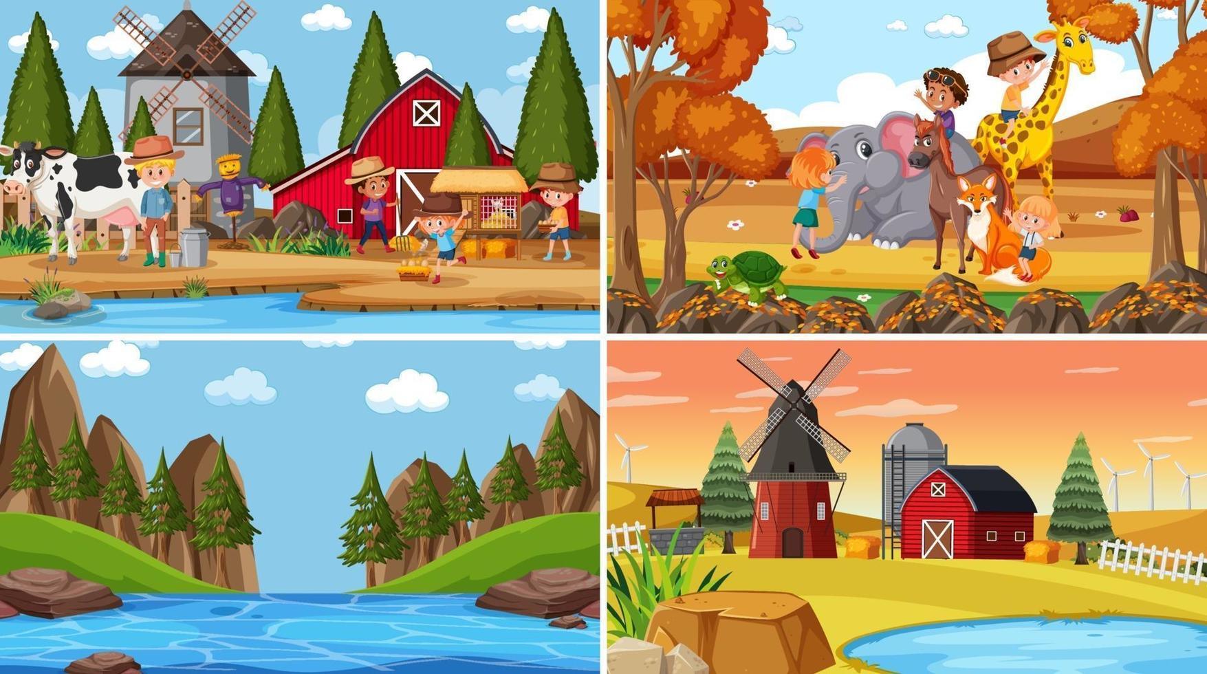 set di sfondo di scene di natura diversa in stile cartone animato vettore