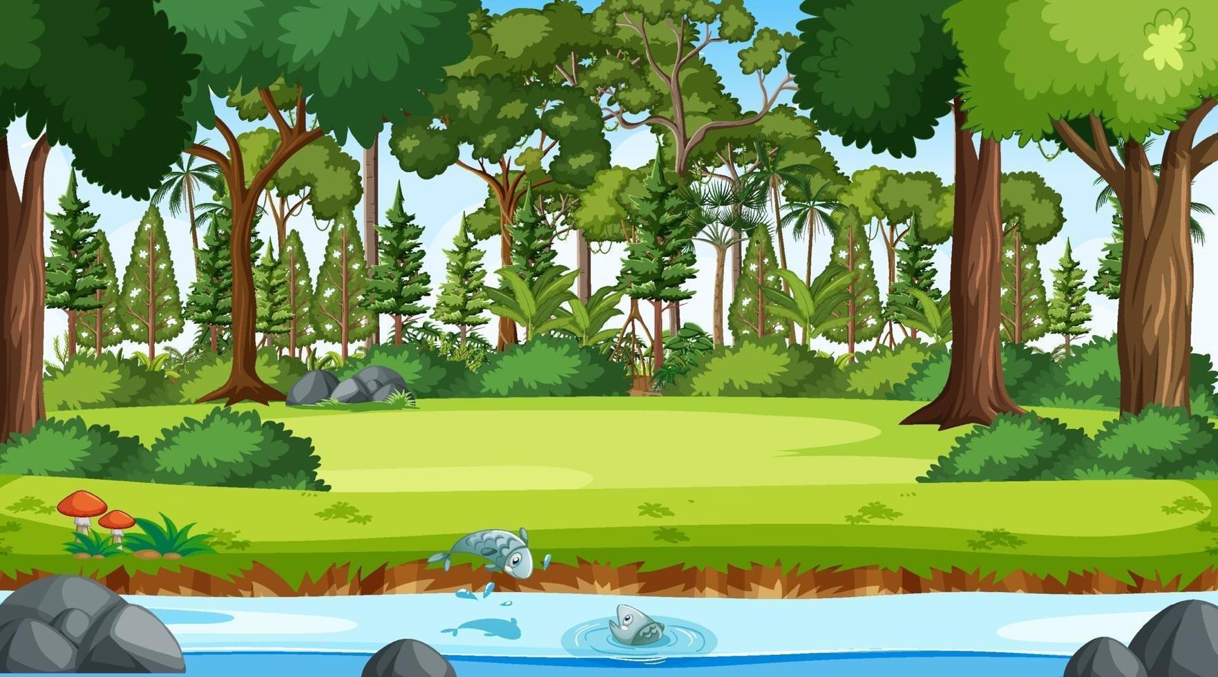 fiume scorre attraverso la scena della foresta durante il giorno vettore