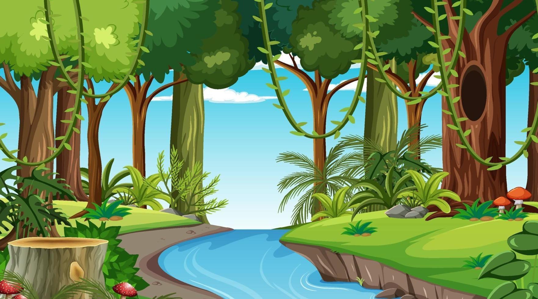 scena del paesaggio forestale durante il giorno con molti alberi diversi vettore