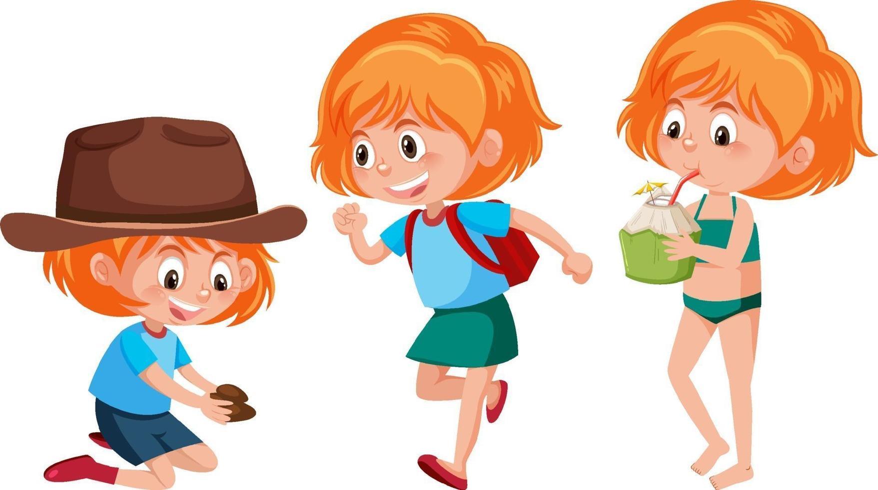 personaggio dei cartoni animati di una ragazza che fa diverse attività vettore