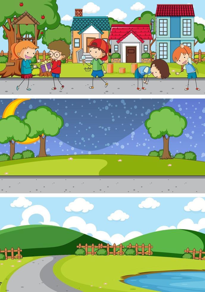 set di diverse scene di sfondo orizzonte con personaggio dei cartoni animati di doodle kids vettore