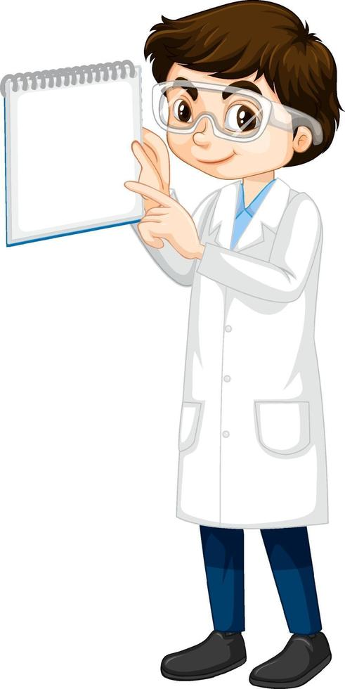 un personaggio dei cartoni animati ragazzo che indossa camice da laboratorio vettore
