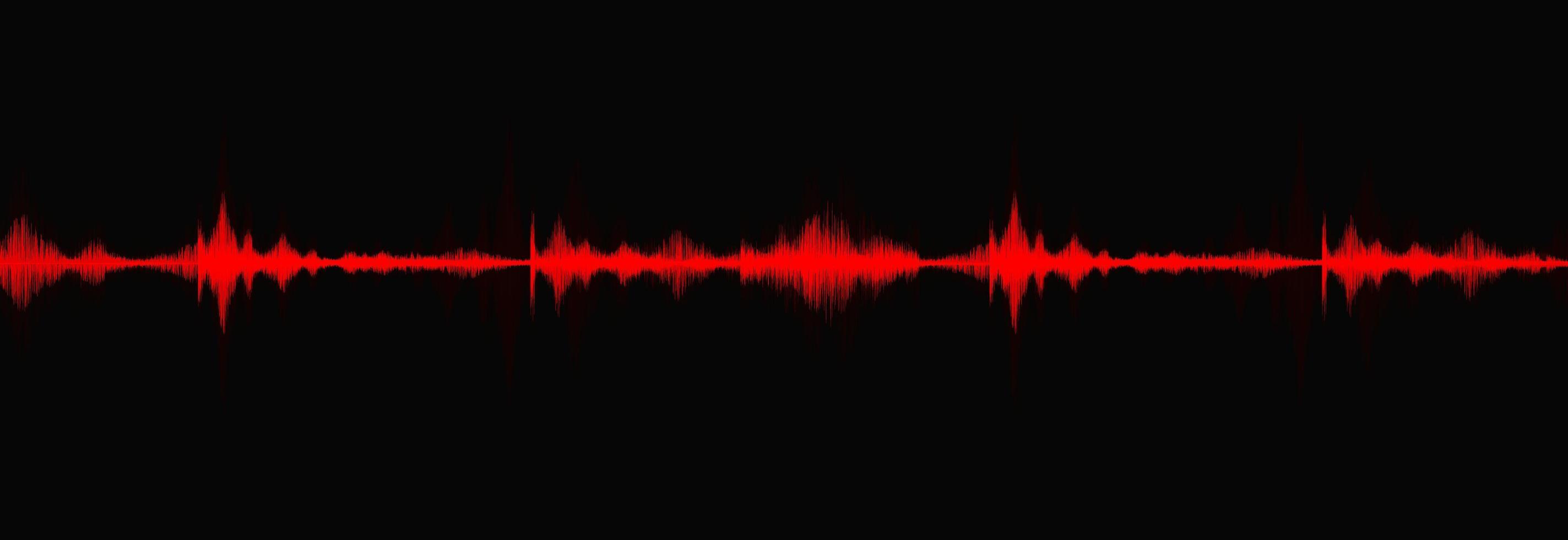 rosso sangue onda sonora digitale scala richter bassa e alta su sfondo nero, diagramma delle onde di tecnologia e terremoto e concetto di cuore in movimento, design per studio musicale e scienza, illustrazione vettoriale. vettore