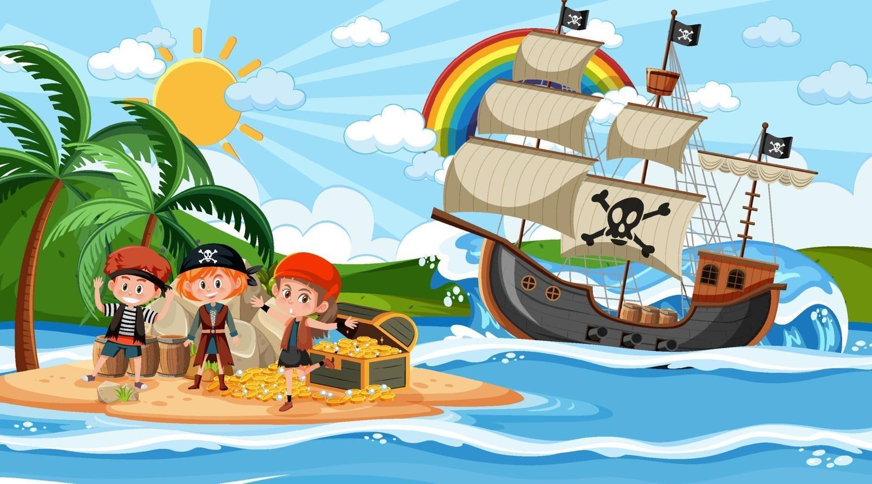 scena dell'isola del tesoro durante il giorno con bambini pirata vettore