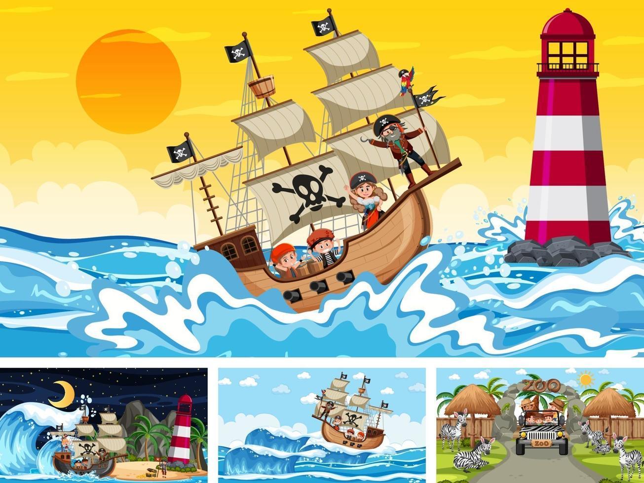 set di diverse scene di spiaggia con nave pirata vettore