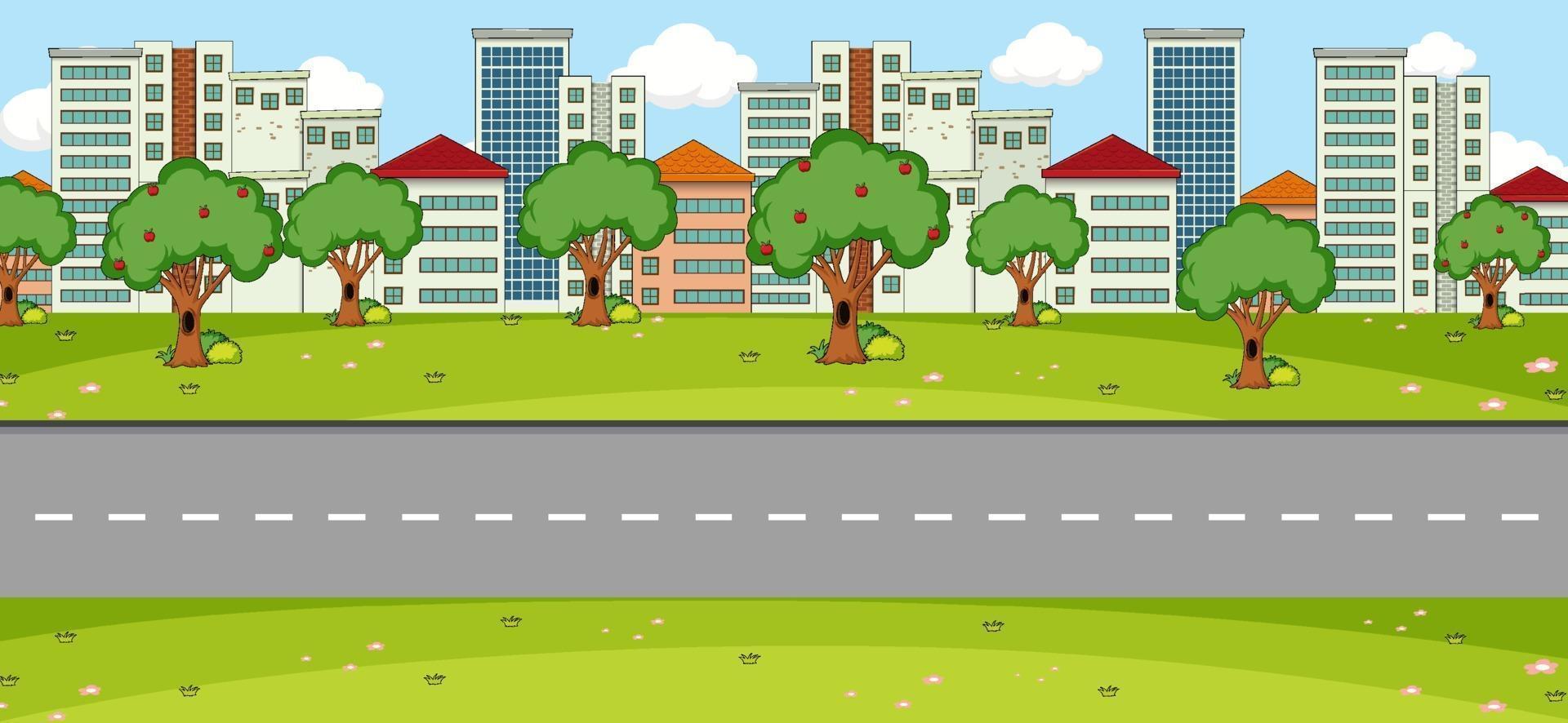 scena del paesaggio del parco vuoto con la strada principale vettore