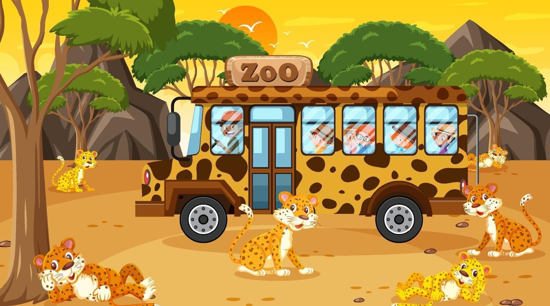 safari al tramonto con molti bambini che guardano il gruppo di leopardo vettore