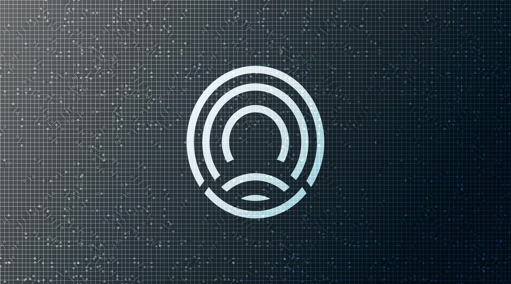 scansione digitale e impronta digitale, concetto di sistema di identificazione della scansione, sullo sfondo del circuito design concept hi-tech e tecnologia, illustrazione vettoriale. vettore