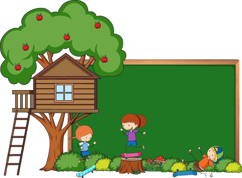banner lavagna vuota con personaggio dei cartoni animati per bambini ed elementi isolati vettore
