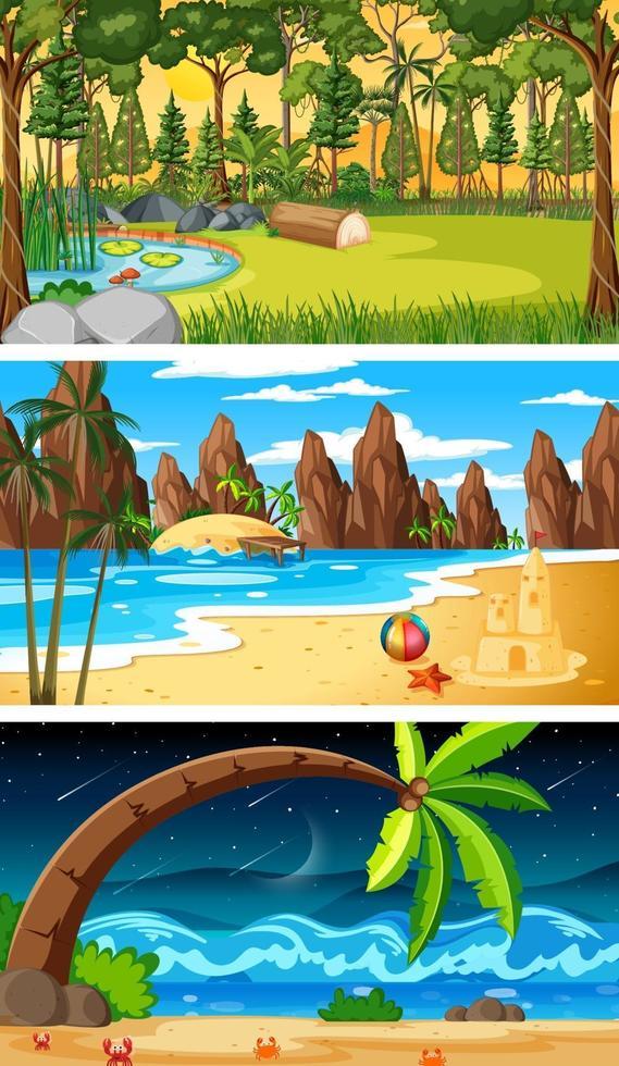 set di diversi tipi di scene orizzontali della foresta vettore