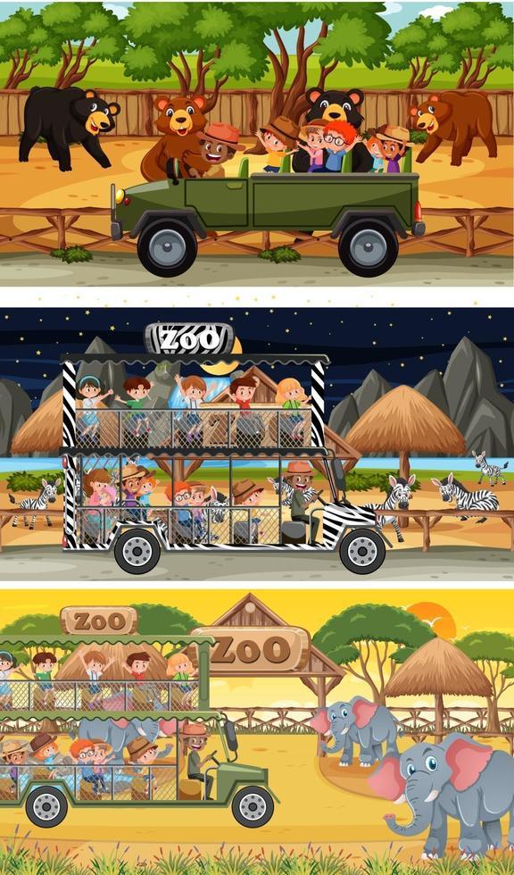 set di diverse scene orizzontali di safari con animali e personaggi dei cartoni animati per bambini vettore