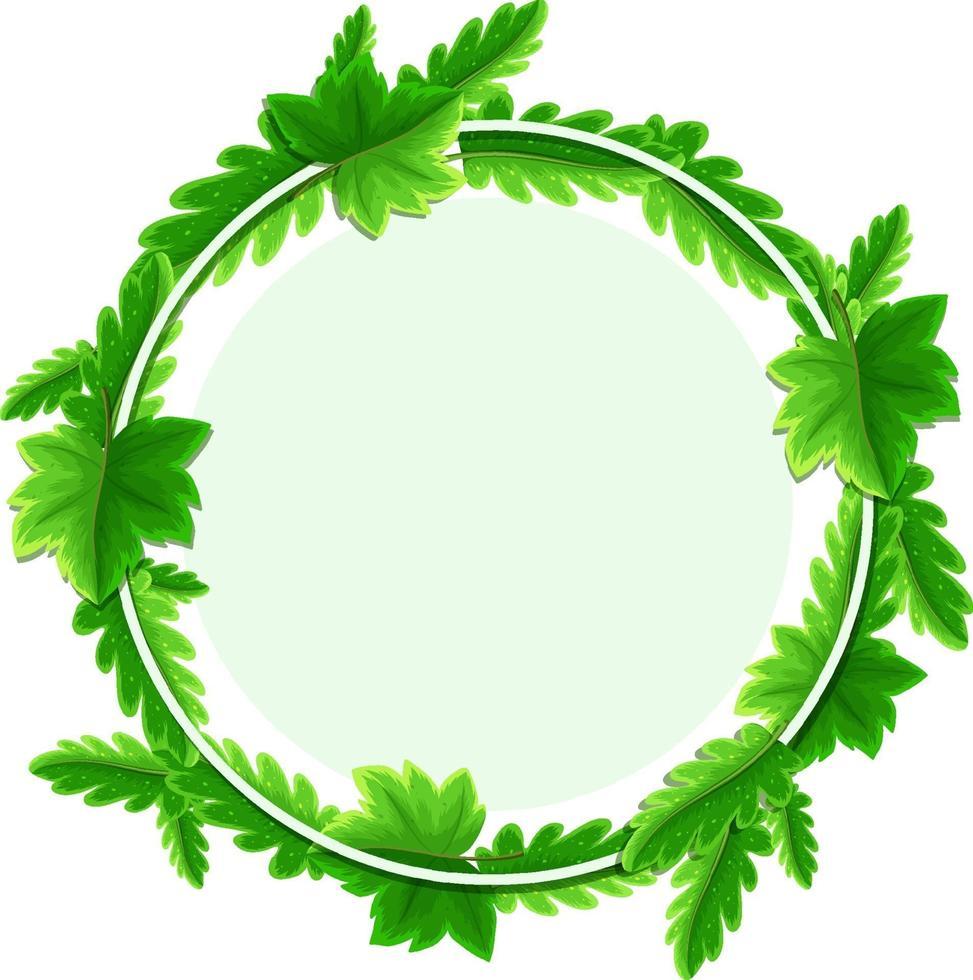 modello di cornice di foglie tropicali rotonde vettore