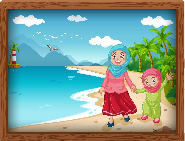 famiglia musulmana in vacanza vettore
