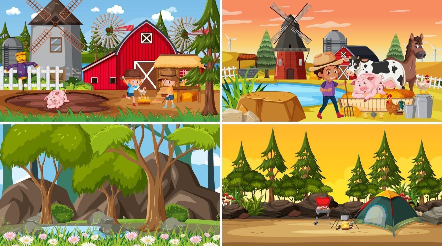 set di sfondo di scene di natura diversa con le persone vettore