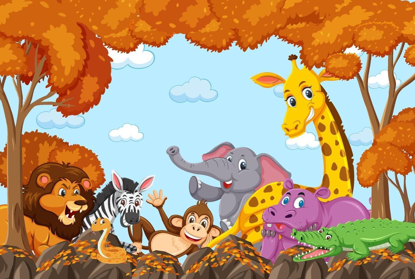 gruppo di animali selvatici nella scena della foresta di autunno vettore
