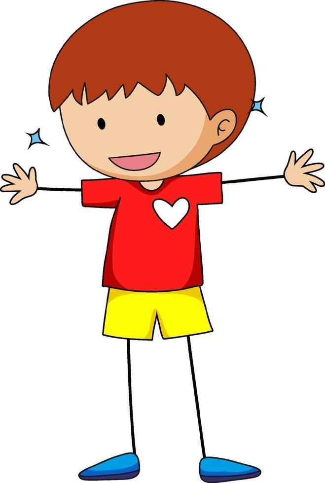 un personaggio dei cartoni animati di doodle ragazzo felice isolato vettore