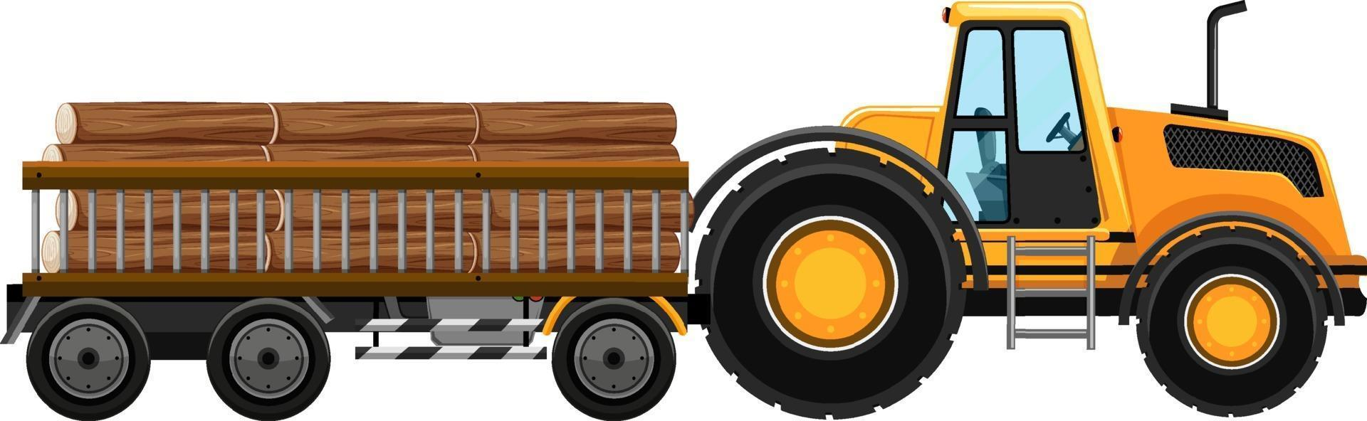 set di carro attrezzi che trasportano boschi sfondo isolato vettore
