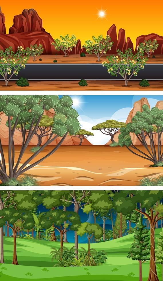 diversi tipi di scene orizzontali della foresta vettore