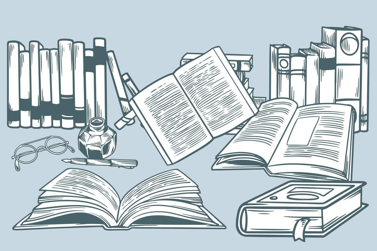 set di libri disegnati a mano in illustrazione vettoriale stile doodle. scena del fumetto di scarabocchio sulla lettura e l'apprendimento. concetto di educazione. vari libri, occhiali da vista e strumenti di scrittura in stile vintage.