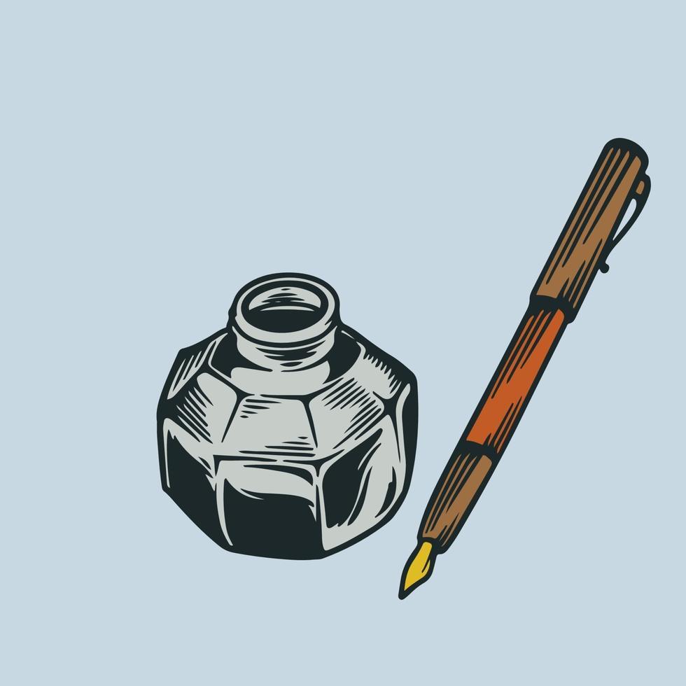 schizzo di vettore disegnato a mano penna e inchiostro incisione stile vintage. accessori e forniture scolastiche. illustrazione di strumenti stazionari penna antica colorata e penna a inchiostro. vecchio strumento di scrittura retrò