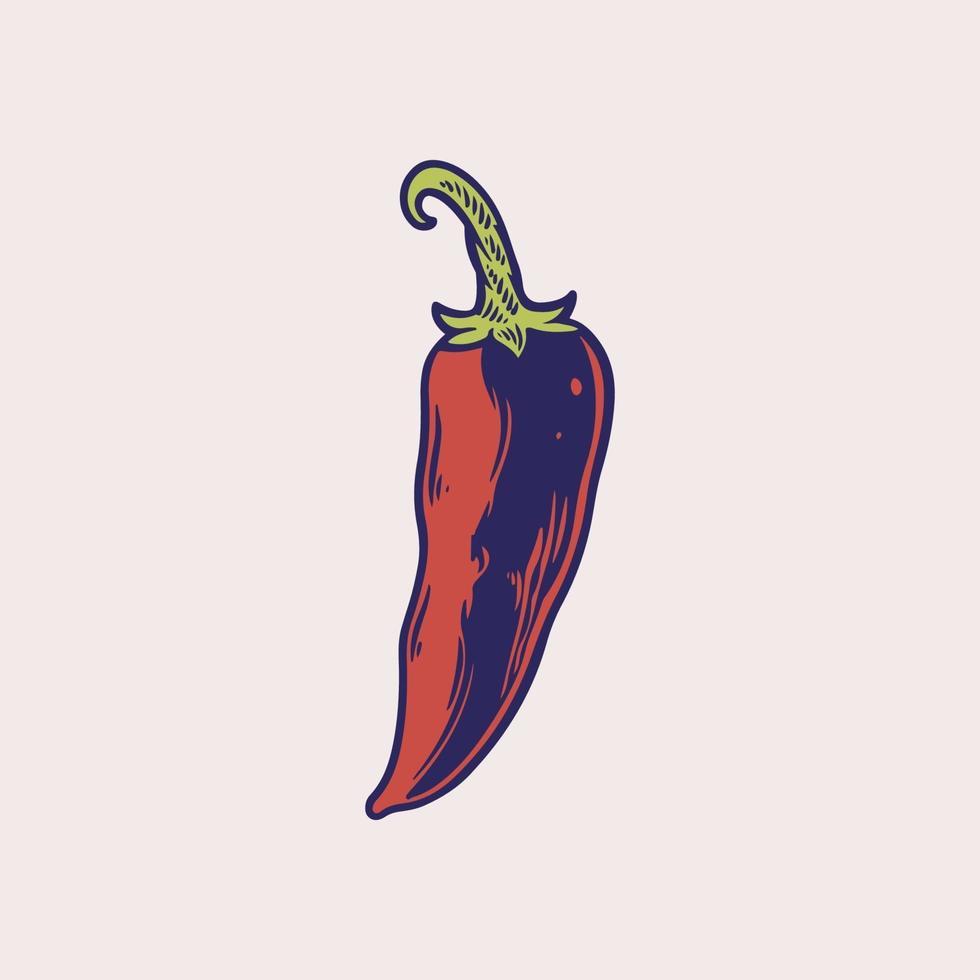 illustrazione vettoriale disegnato a mano di peperoncino. oggetto in stile vegetale inciso. disegno dettagliato di cibo vegetariano. peperoncino, spezie, ingrediente tradizionale della cucina messicana. prodotto del mercato agricolo