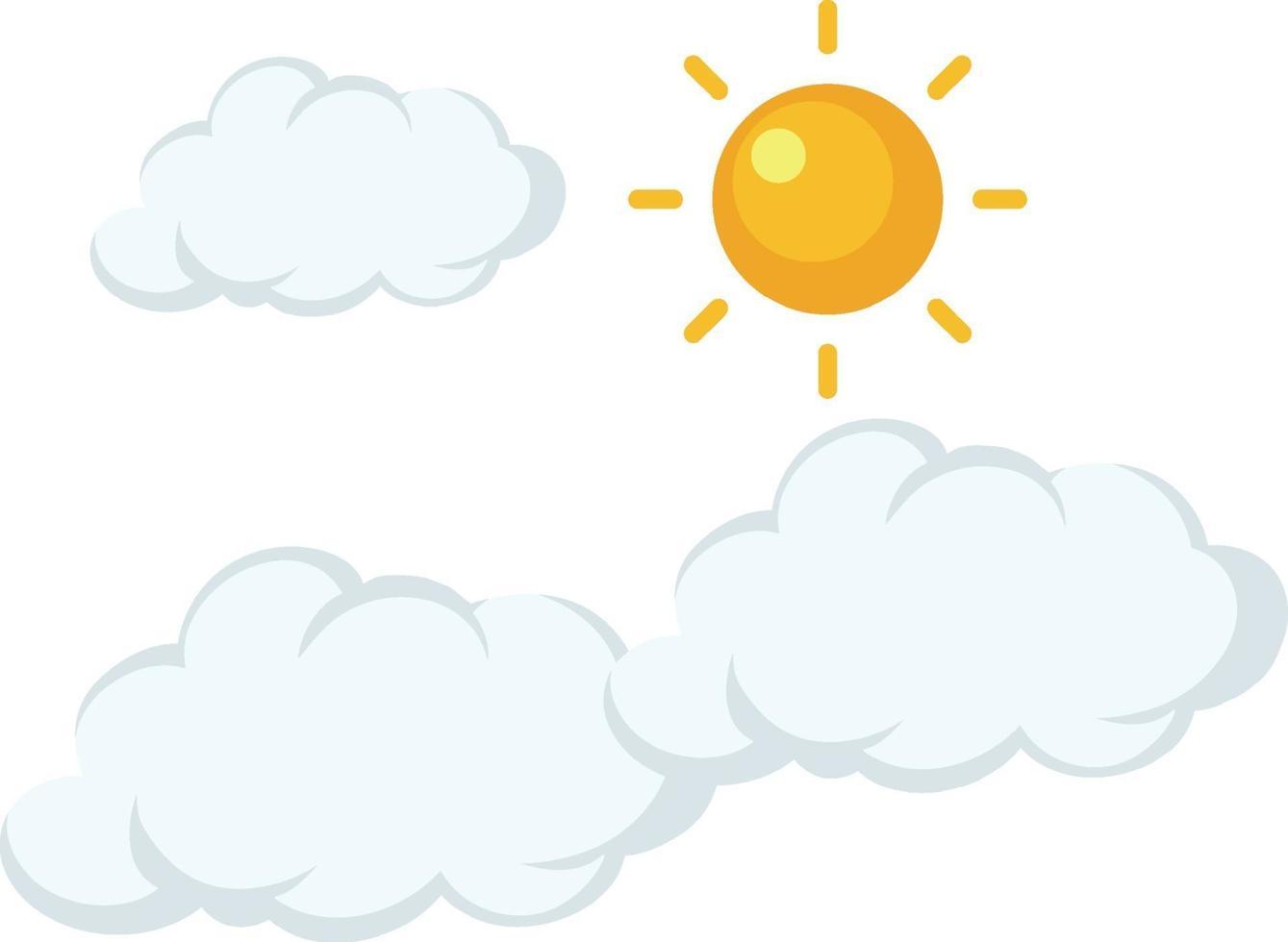sole con stile cartone animato nuvola su sfondo bianco vettore