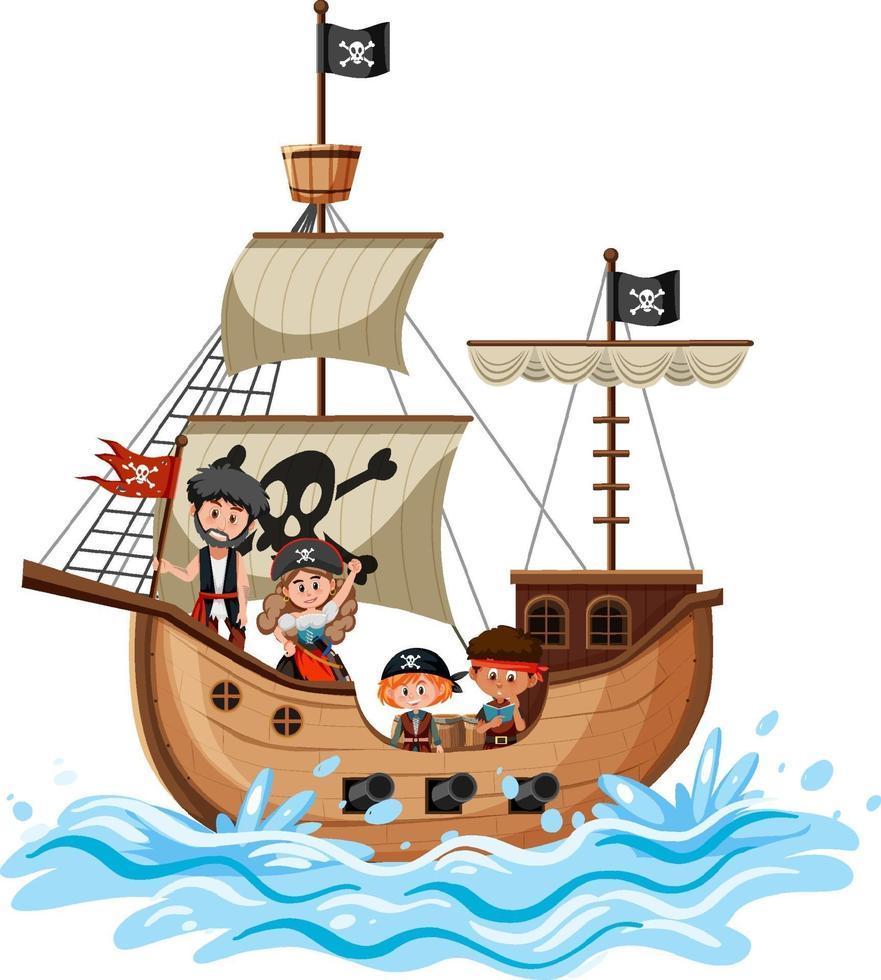 nave pirata sull'onda dell'oceano con molti bambini isolati su sfondo bianco vettore