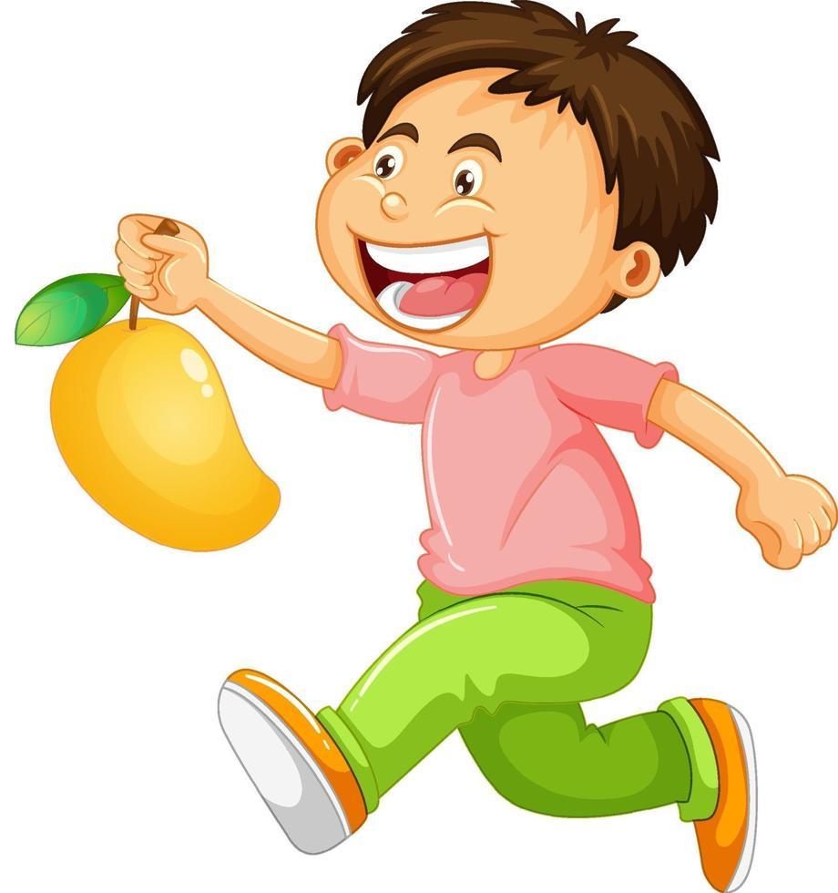 personaggio dei cartoni animati ragazzo felice che tiene un mango vettore