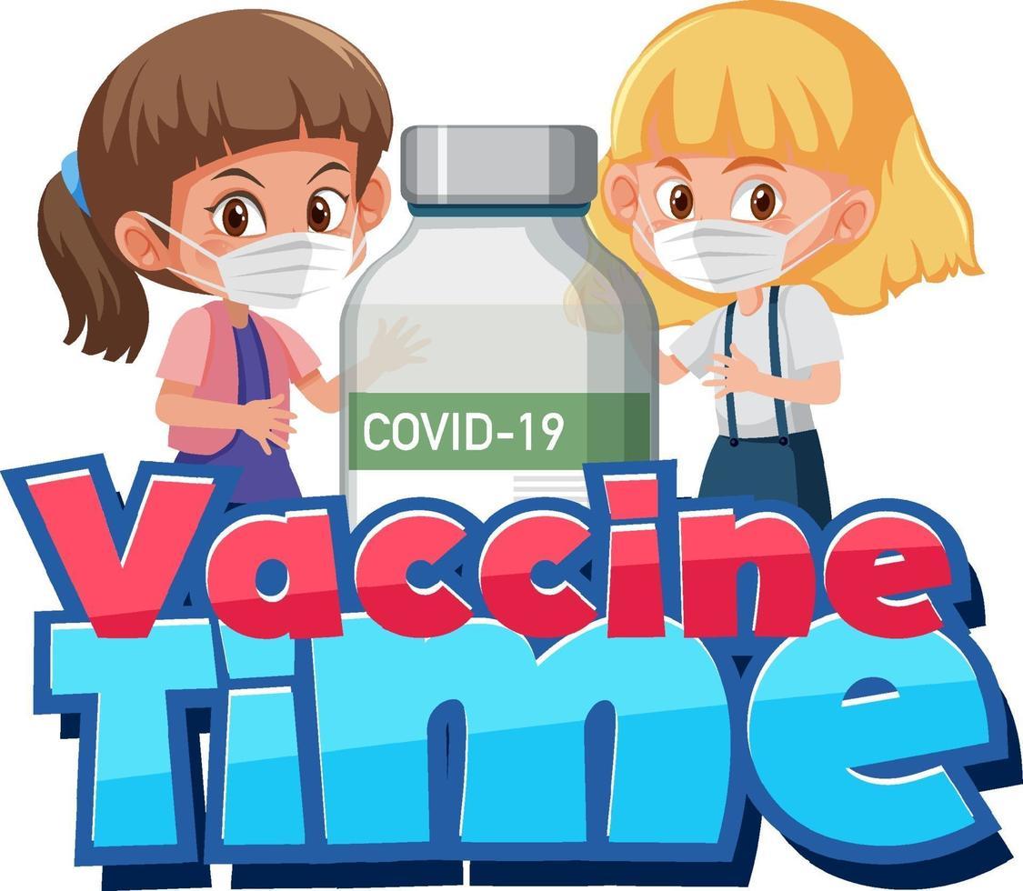 carattere del tempo del vaccino con ragazze che indossano maschera e bottiglia di vaccino covid19 vettore