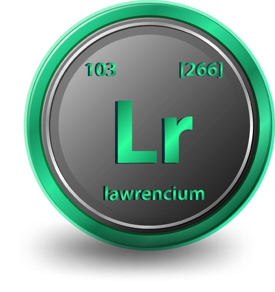 simbolo chimico dell'elemento chimico lawrencium con numero atomico e massa atomica vettore