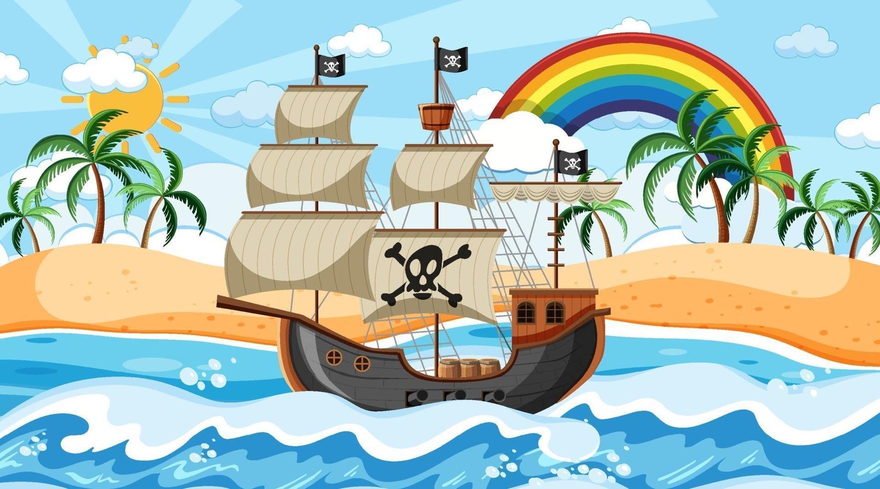 scena dell'oceano durante il giorno con la nave pirata in stile cartone animato vettore