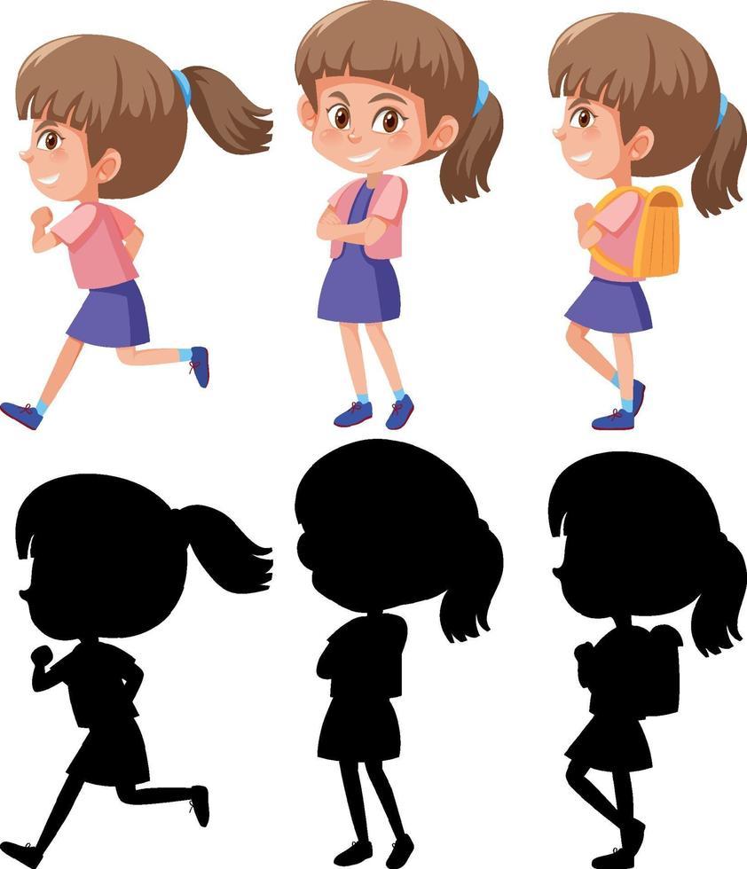 set di un personaggio dei cartoni animati di ragazza in diverse posizioni con la sua silhouette vettore
