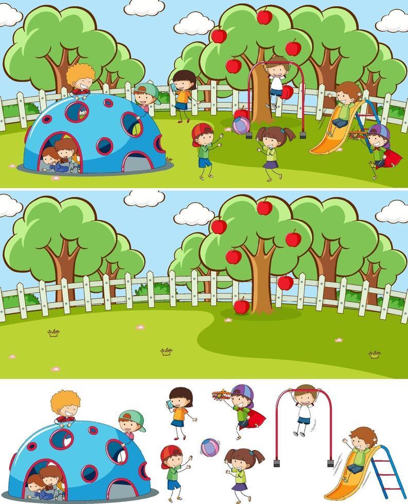 scena di parco giochi insieme con molti bambini doodle personaggio dei cartoni animati isolato vettore