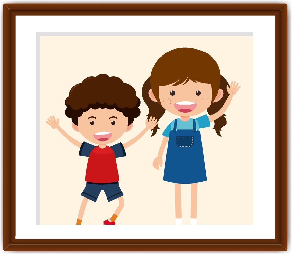 personaggio dei cartoni animati di un ragazzo e una ragazza in una cornice per foto vettore