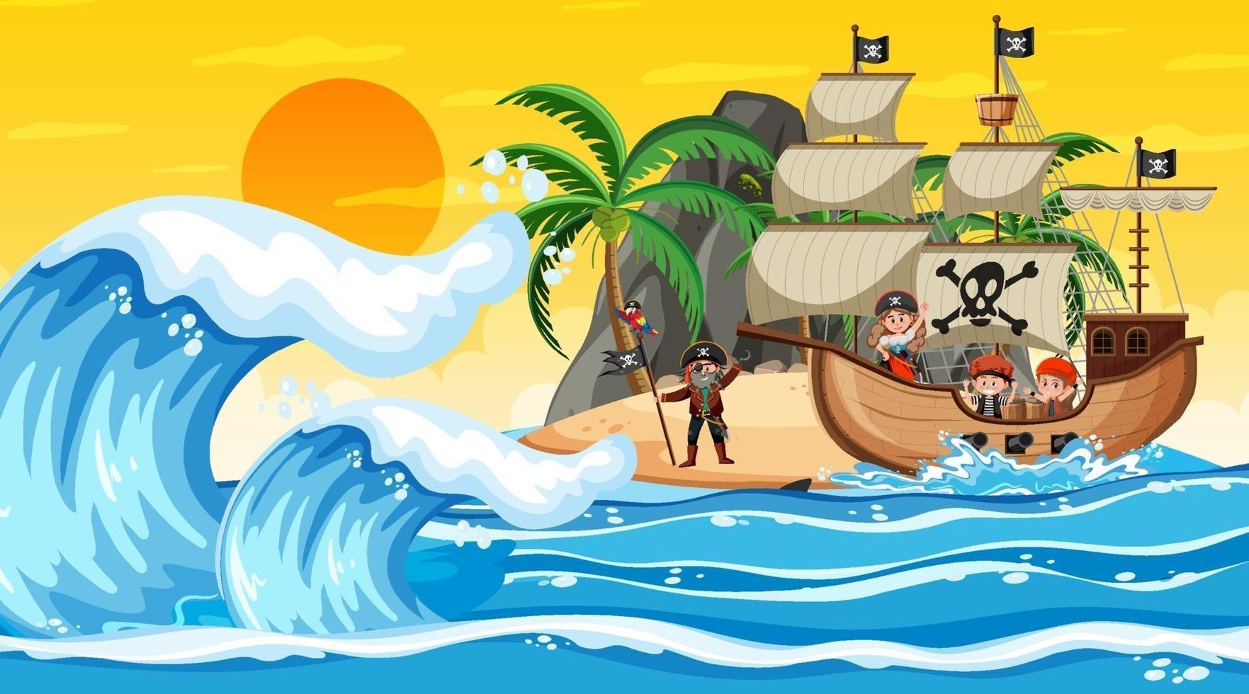 oceano con nave pirata alla scena del tramonto in stile cartone animato vettore
