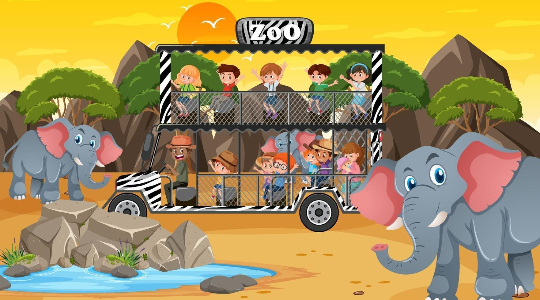 safari alla scena del tramonto con molti bambini che guardano il gruppo di elefanti vettore