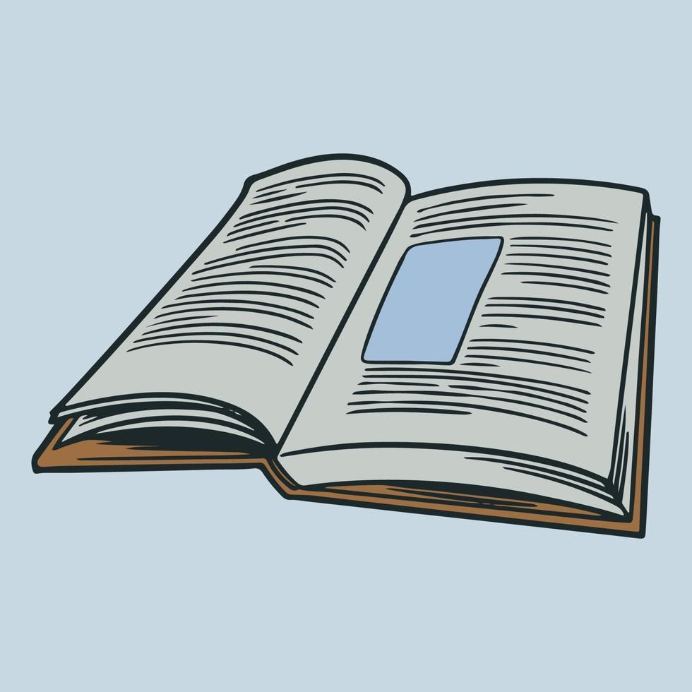schizzo disegnato a mano di un libro con pagine aperte. libri di istruzione universitaria o schizzi di libreria. libro aperto decorativo in immagine incisa retrò. elemento di icone vettoriali illustrazione isolato