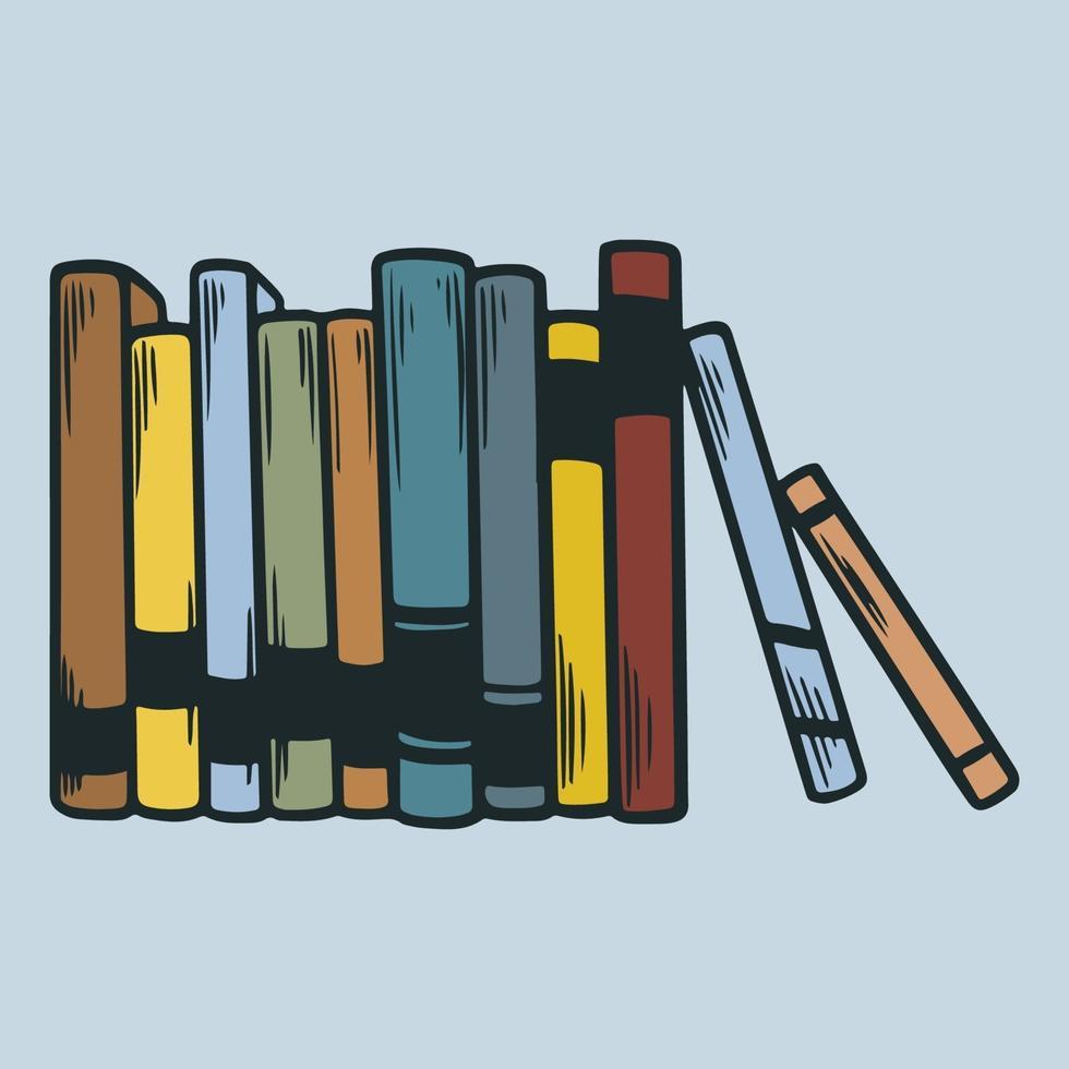 libri in piedi sullo scaffale elemento di design disegnato a mano. giornata mondiale del libro. mucchio di vari libri colorati popolari. illustrazioni vettoriali educativi isolati nello schizzo incisione vintage