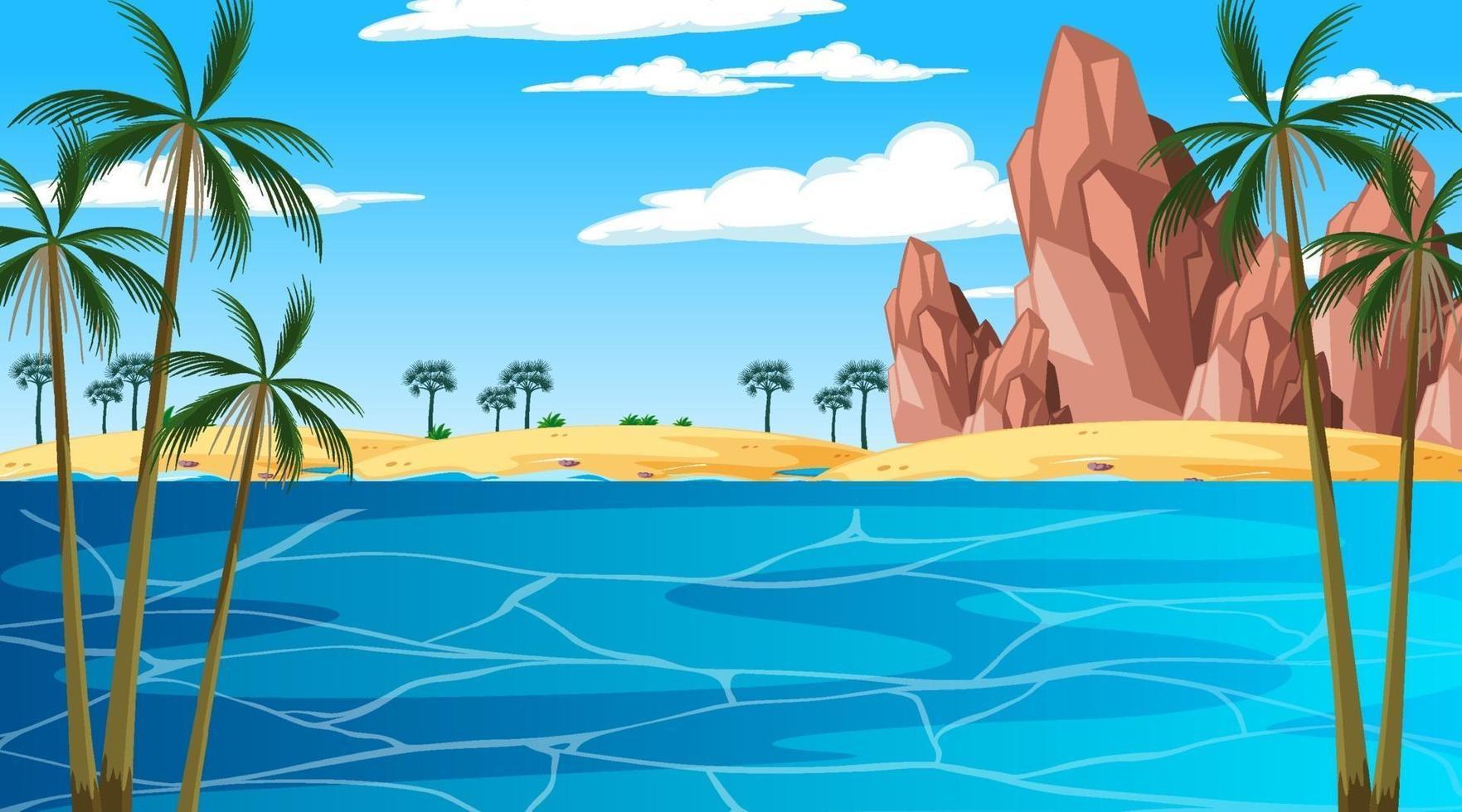 scena di paesaggio spiaggia tropicale durante il giorno vettore