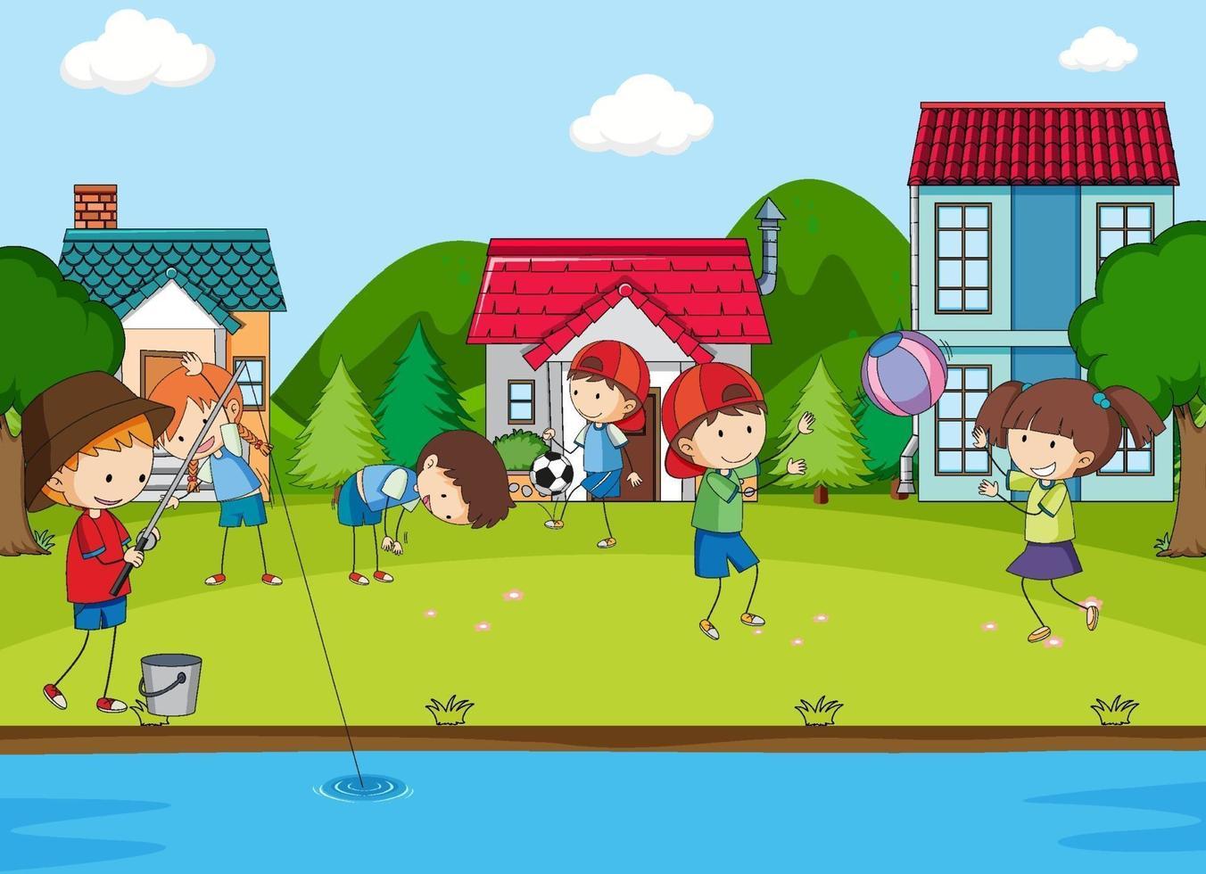 scena del parco giochi con molti bambini vettore