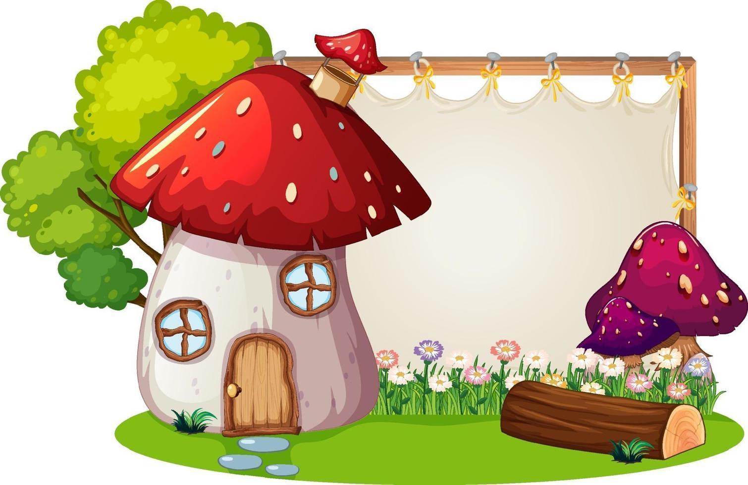 banner bianco in giardino con casa dei funghi isolata vettore