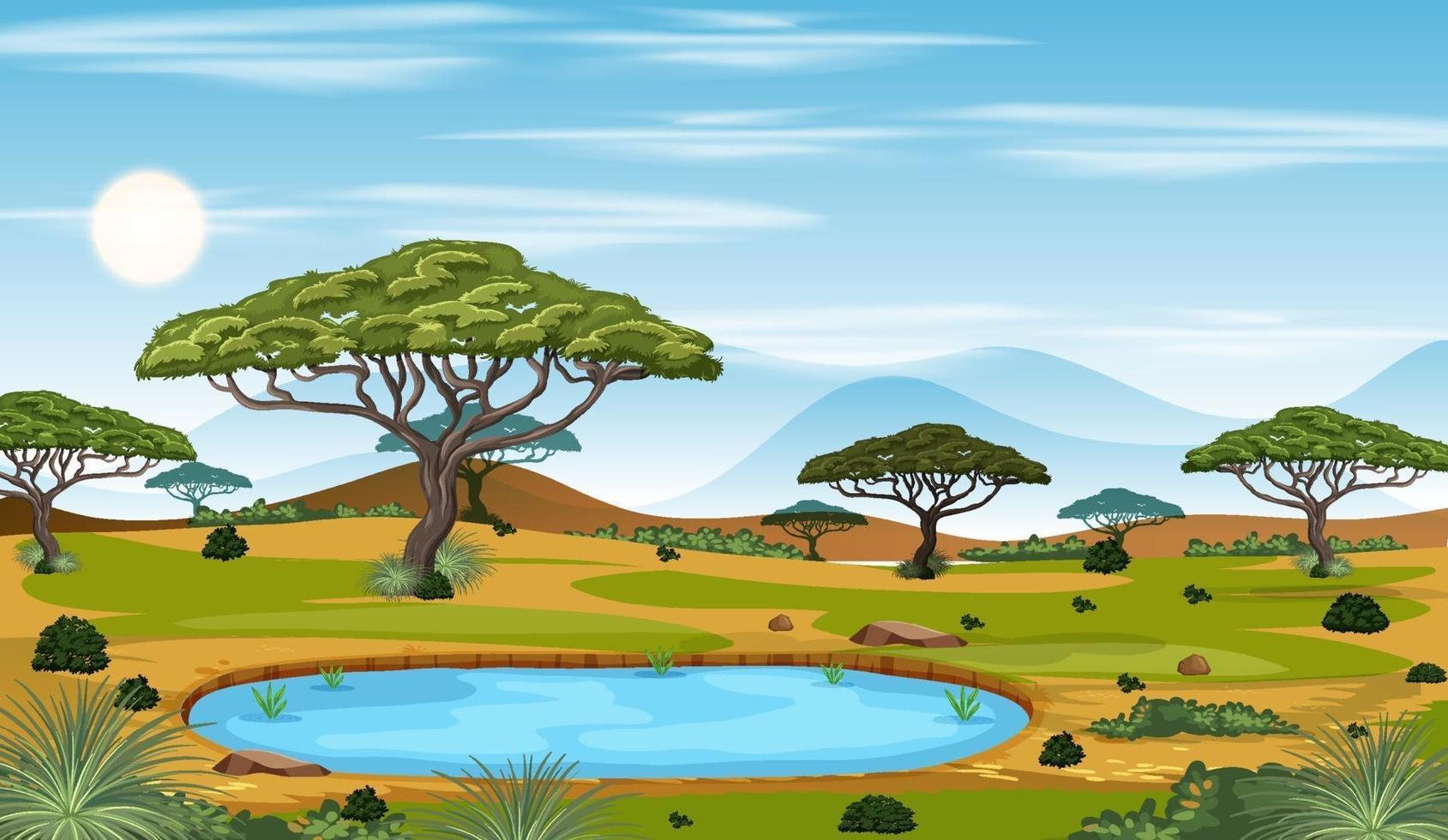 scena del paesaggio della foresta della savana africana durante il giorno vettore