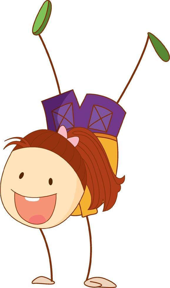 personaggio dei cartoni animati ragazza carina in stile doodle isolato vettore
