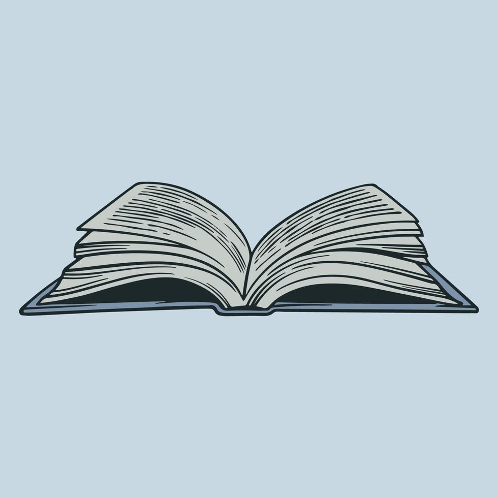 vettore disegnato a mano un libro con pagine volanti schizzo doodle. giornata mondiale del libro. lettura e apprendimento. illustrazione del concetto di educazione in elemento di design incisione vintage. libro della biblioteca degli studenti