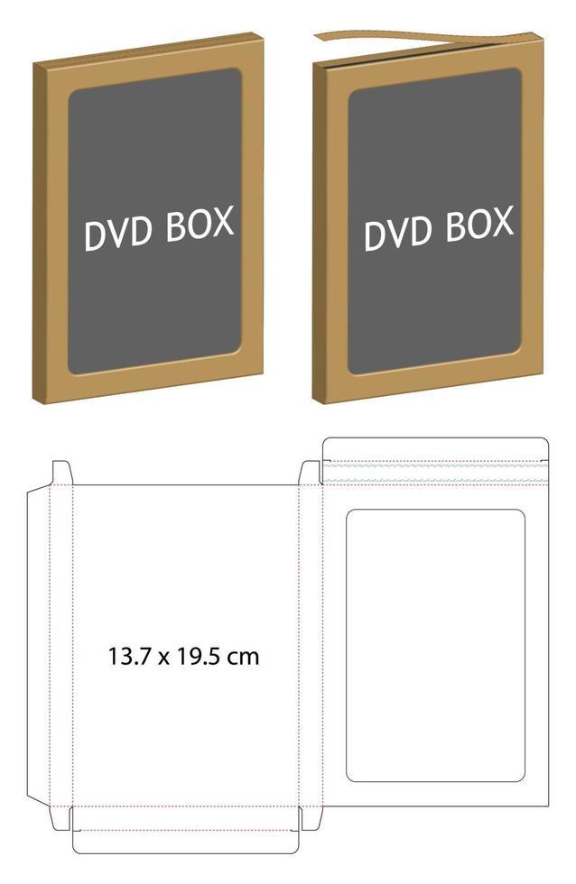 modello di linea fustellata di scatola di imballaggio in carta dvd vettore