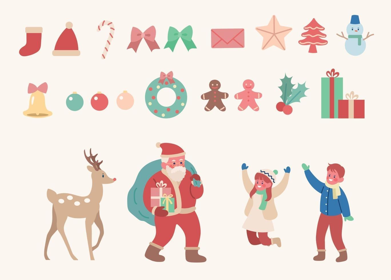 Bambini Babbo Natale Disegno.Set Di Ornamenti Natalizi Con Babbo Natale E Renne E Bambini Illustrazioni Di Disegno Vettoriale Stile Disegnato A Mano 2286389 Scarica Immagini Vettoriali Gratis Grafica Vettoriale E Disegno Modelli