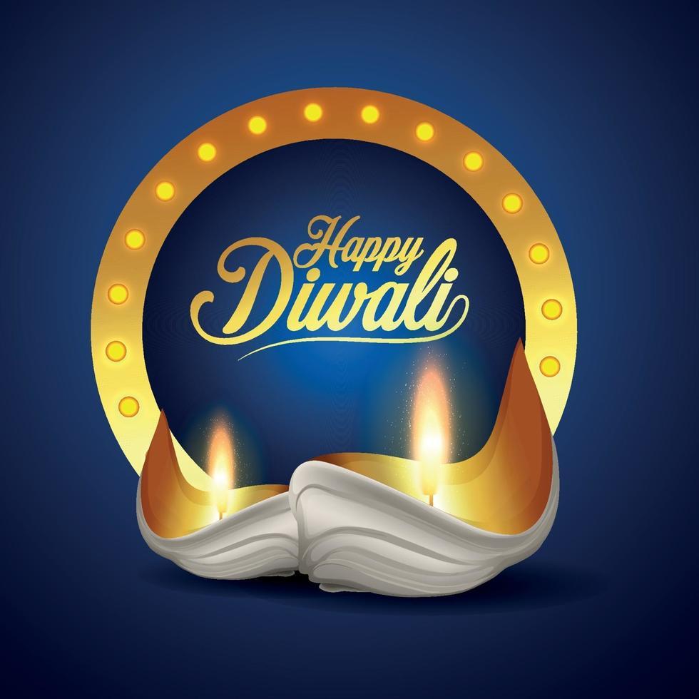 felice festival indiano di diwali di biglietto di auguri leggero con diwali diya creativo vettore